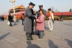 Seguridad en Plaza de Tiananmen en Pekín China Imagenes de archivo