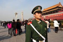 Seguridad en Plaza de Tiananmen en Pekín China Imagen de archivo libre de regalías