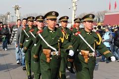 Seguridad en Plaza de Tiananmen en Pekín China Foto de archivo libre de regalías