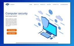 Seguridad informática, concepto isométrico plano del vector 3d de la protección de información stock de ilustración