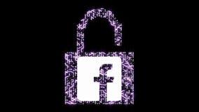 seguridad informática 4k con el candado abierto, icono del facebook, salida de la información personal, una placa de circuito fut almacen de metraje de vídeo