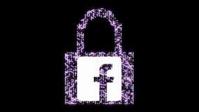 seguridad informática 4k con el candado, icono del facebook, salida de la información personal, una placa de circuito futurista c stock de ilustración