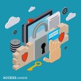 Seguridad informática, protección de datos, concepto del vector del control de acceso Fotos de archivo