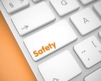Seguridad - inscripción en el botón blanco del teclado 3d Fotografía de archivo