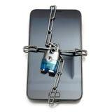 Seguridad móvil con el teléfono móvil y la cerradura Fotos de archivo libres de regalías