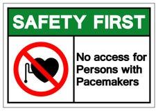 Seguridad primero ningún acceso para las personas con la muestra del símbolo de los marcapasos, ejemplo del vector, aislante en libre illustration