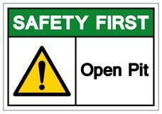 Seguridad primero Pit Symbol Sign abierto, ejemplo del vector, aislante en la etiqueta blanca del fondo EPS10 libre illustration