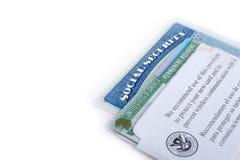 Seguridad Social de los Estados Unidos de América y carta verde foto de archivo libre de regalías