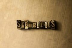 SEGURIDADES - primer de la palabra compuesta tipo vintage sucio en el contexto del metal stock de ilustración