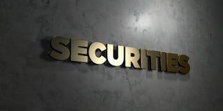 Seguridades - texto del oro en fondo negro - imagen común libre rendida 3D de los derechos libre illustration
