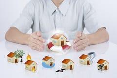 Seguro da casa da proteção do agente do vendedor do negócio acci do conceito Fotografia de Stock