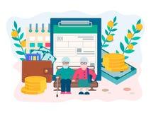 Seguro da pensão e conceito do fundo de pensão ilustração do vetor