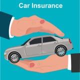 Seguro de coche, concepto de la protección, ejemplo del vector Imágenes de archivo libres de regalías