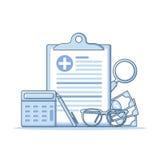 Seguro de saúde e conceito dos cuidados médicos formulário do seguro de saúde Fotografia de Stock