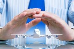 Seguro del vuelo de la línea aérea Imágenes de archivo libres de regalías