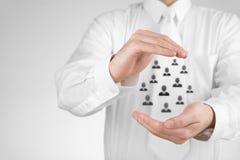 Seguro e conceito do cuidado do cliente