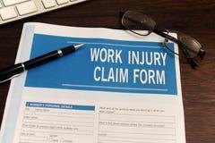 seguro: formulário de reivindicação em branco de ferimento de trabalho Imagens de Stock Royalty Free