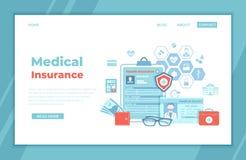 Seguro médico, cuidados médicos, apoio Formulário do seguro da reivindicação da saúde, cartão médico, a licença do doutor, kit de ilustração royalty free