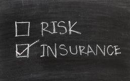 Seguro ou risco no quadro-negro Foto de Stock Royalty Free