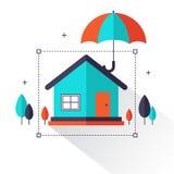 Seguro patrimonial - os bens imobiliários home protegidos sob o conceito liso do estilo do guarda-chuva criam perto ilustração stock