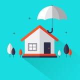 Seguro patrimonial - os bens imobiliários home protegidos sob o conceito liso do estilo do guarda-chuva criam perto ilustração royalty free