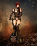 Segway的Steampunk妇女 免版税库存照片