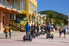 Segway affärsföretag på St Maarten som är karibisk Arkivbilder