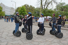 Segway Alamo Gathering. A gathering of segways and riders in the forefront of the Alamo in San Antonio, Texas Royalty Free Stock Photos