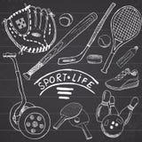 体育剪影乱画元素 与棒球棒和手套, segway bowlong, hokkey网球项目,画的乱画col的手拉的集合 免版税库存照片