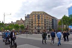 Segway sparkcyklar i Barcelona, Spanien Arkivfoton