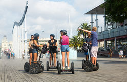 Segway tour of Barcelona, Spain Stock Photo