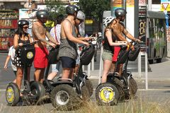 Segway tour in Budapest, Hungary summer day Royalty Free Stock Photos