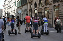 Segways on the streets of Italy royalty free stock photos