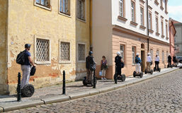 Segways on the streets of Prague. Royalty Free Stock Photo