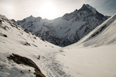 Sehen Sie auf dem Weg zum niedriges Lager-Bereich Annapurna an Lizenzfreie Stockfotos