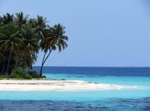Sehen Sie auf Maldives-Insel vom Flugzeug an Stockfotos