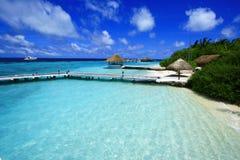 Sehen Sie auf Maldives-Insel vom Flugzeug an Lizenzfreies Stockfoto
