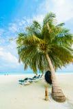 Sehen Sie auf Maldives-Insel vom Flugzeug an stockfoto