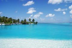 Sehen Sie auf Maldives-Inseln vom Flugzeug an Stockfotografie