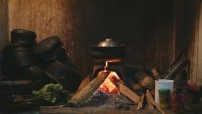 Sehen Sie das brennende Feuer an, das einen Topf für das Kochen in der lokalen Küche in Sri Lanka erhitzt stock footage