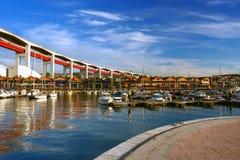 Sehen Sie für das Dock der Stadt Stockbilder