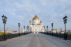 Sehen Sie Kirche des Christus des Retters von der patriarchalischen Brücke am frühen Morgen an Lizenzfreie Stockbilder