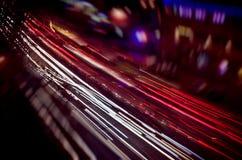 Sehen Sie Lichter einer Nachtstadt an Stockfotos