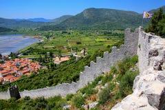 Sehen Sie pof Ston-Stadt und seine Verteidigungswälle, Peljesac-Halbinsel an, Lizenzfreie Stockbilder