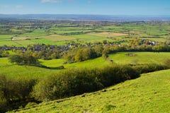 Sehen Sie vom Brent-Hügel Somerset zu den Quantock Hügeln an Stockbild