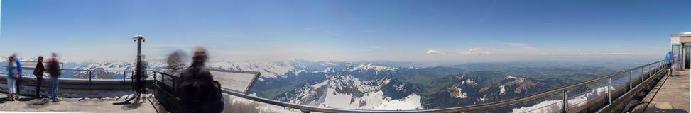 sehen Sie vom hohen definiti der saentis Bergstations-Schweiz an Lizenzfreie Stockfotografie