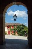 Sehen Sie vom Portal eines venetianischen Landhauses flüchtig Stockbild