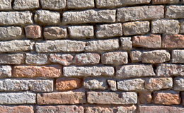 Sehr alte Backsteinmauernahaufnahme Stockfotos