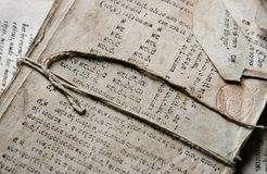 Sehr alter hebräischer Text Lizenzfreies Stockfoto