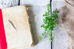 Sehr altes antikes Buch auf dem Tisch mit Krautthymian auf hölzernem Hintergrund stockfotografie